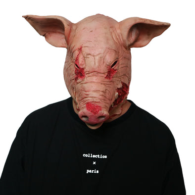 Custom Scary Cosplay Costume Latex Mask Full Head Halloween Saw Boar Pig Head - Cosplay Infinity