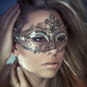 ONE Black / White Metal Rhinestone Party Masks Laser Cut Venetian - Cosplay Infinity