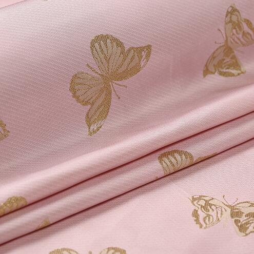 2016 new and unique pink beauty fashion fabrics imported jacquard brocade butterfly gold crisp coat cloth