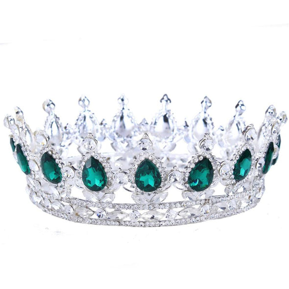 Green Crystal Gold Color Royal Regal Sparkly Rhinestones Tiara - Cosplay Infinity