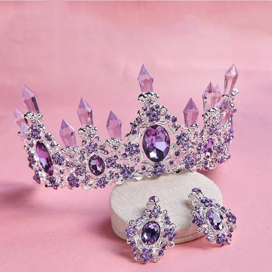 New Luxury Purple Red White Crystal Queen Cosplay Princess Wedding Crown Tiaras - Cosplay Infinity