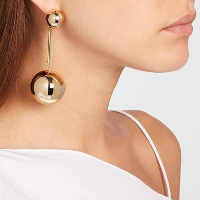 Elegant Big Metal Ball  Long Drop Earrings Dangle Earrings