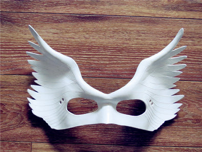 2018 Handmade Angel Wing Cosplay Mask Half Face Leather White Masquerade Halloween Props Party Fancy Dress Ball - Cosplay Infinity