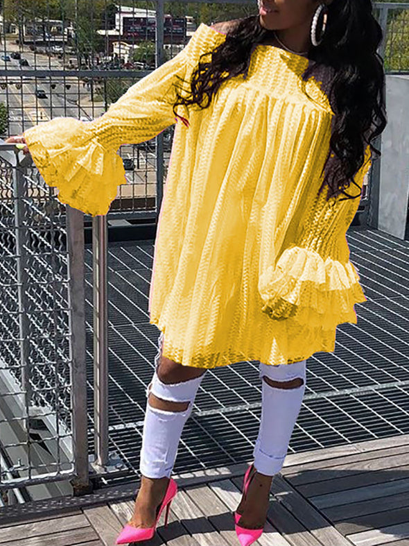 2018 New Fashion Plus Summer 3XL Women XXXL Stylish Mini Dress Plus Size Off Shoulder Colorful Lace Flare Sleeve Casual Dress - Cosplay Infinity
