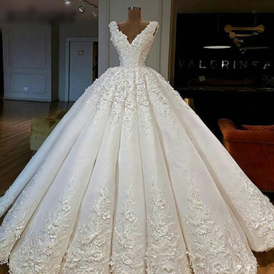 Royal Quality Luxury Wedding Dress Elegant Beautiful Ball Gown Flowers Floor Length Lace Up Custom Made - Cosplay Infinity