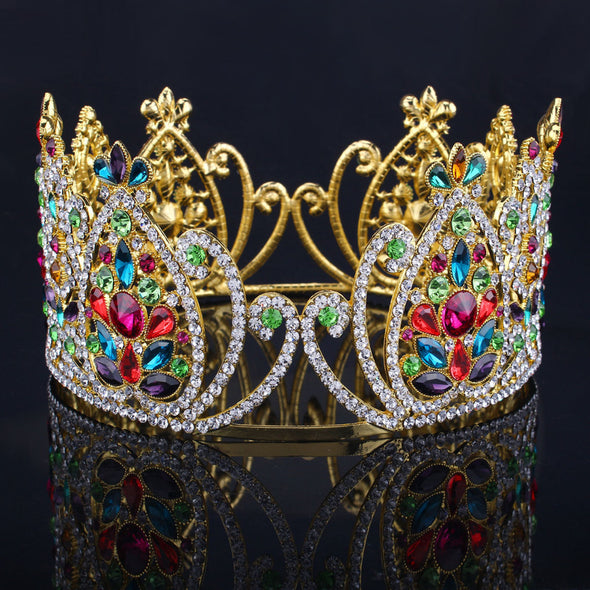 3.5in Height Big King Queen Gold Full Crowns Rhinestone Tiaras - Cosplay Infinity
