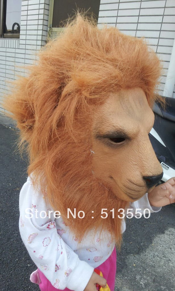 Adult Latex Lion Cosplay Costume Halloween Mask with Hair - Cosplay Infinity
