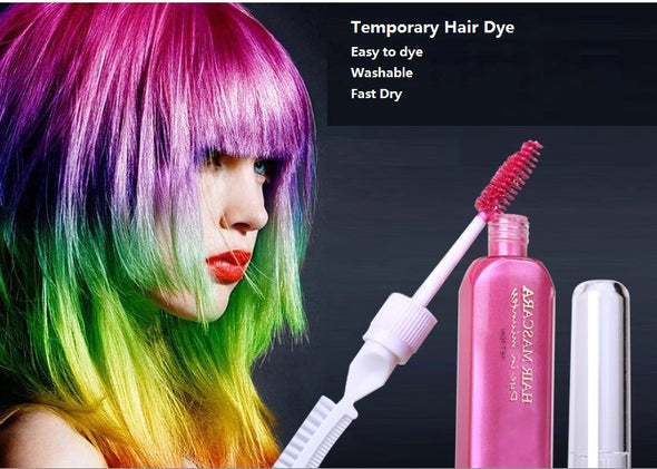 3 Hair Color & TOUCH-UP Mascara chalks-for-the-hair 12 colors Non-toxic temporary hair dye with comb - Cosplay Infinity