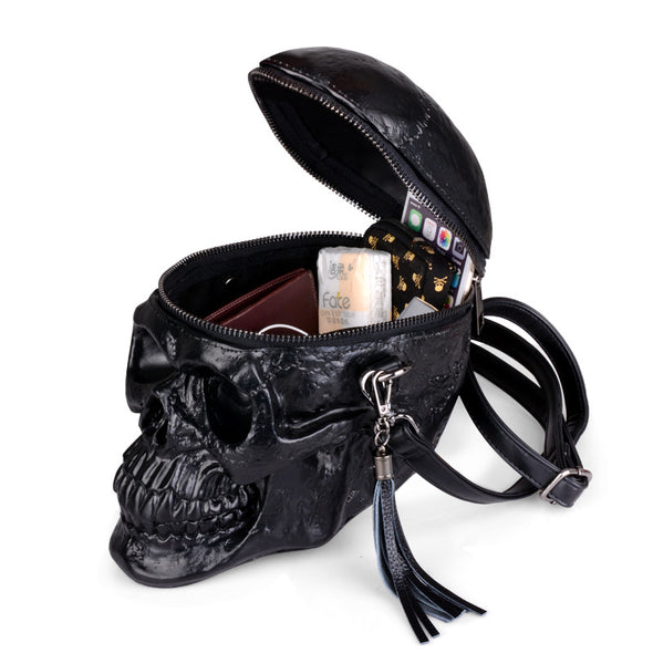 3D Skull Shoulder Bag Crossbones Messenger Bag Unisex Men Women Fashion Street Black Leather Zipper Handbags Steam Punk Hot 2018
