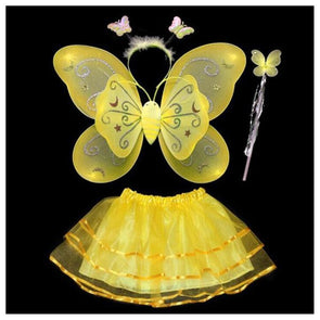 4Pcs Fairy Princess Yellow Butterfly Angel Wings Birthday Costume Baby Toddler - Cosplay Infinity