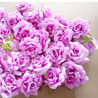 50PCS Wedding Decoration Artificial Flowers Head 10 cm For DIY Wreath Gift Box Floral silk Party Design Flowers