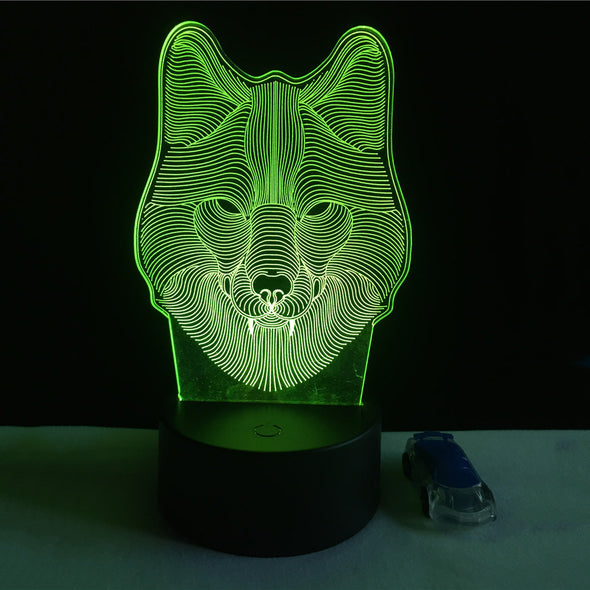 7 Color Wolf Lamp 3D Visual Led Night Lights for Kids - Cosplay Infinity