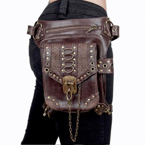 Brown Unisex Steampunk Gothic Hip and Holster Waist Bag Thigh Wallet - Cosplay Infinity