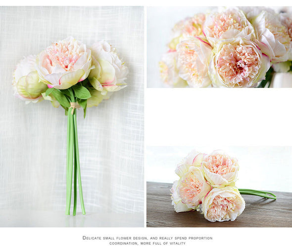 One Bunch European Artificial Flower Peony Bridal Bouquet Floral Crafts Wedding Party Home Decorative - Cosplay Infinity