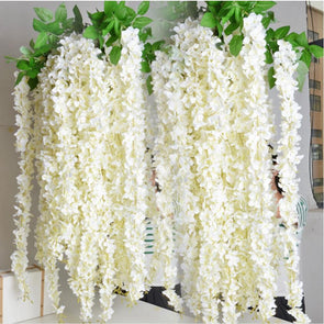 Rattan Strip Wisteria Artificial Flower Vine white