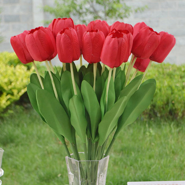 Silk Flowers Tulips Red