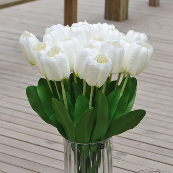 Silk Flowers Tulips White