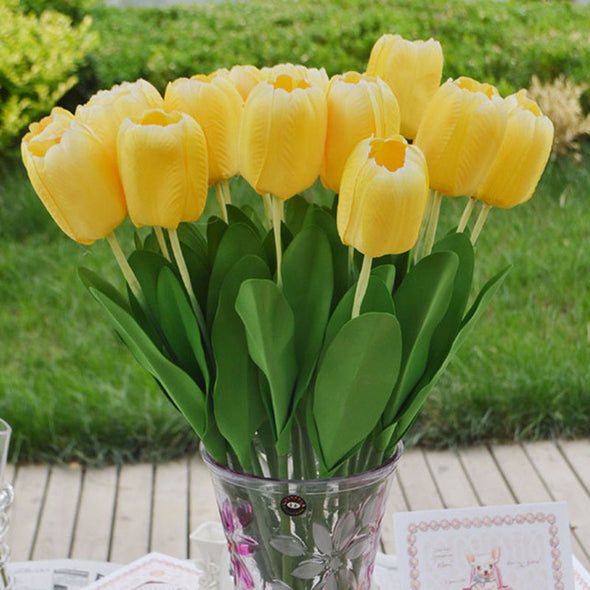 Silk Flowers Tulips Yellow