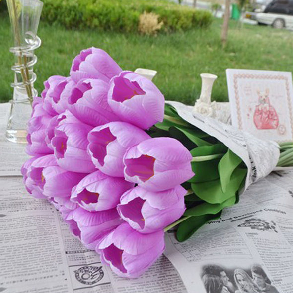 Silk Flowers Tulips purple