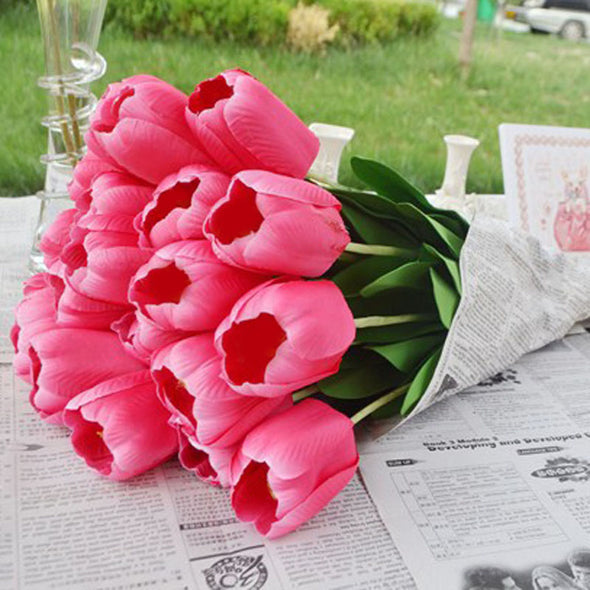 Silk Flowers Tulips pink