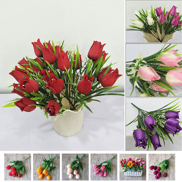 Artificial Silk Tulips 7 Heads Bouquets Party Flowers Crafts Decor - Cosplay Infinity