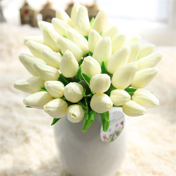 Mini-Tulips Artificial Silk Tulips white2
