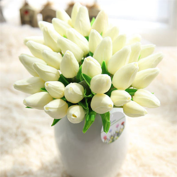 Mini-Tulips Artificial Silk Tulips White
