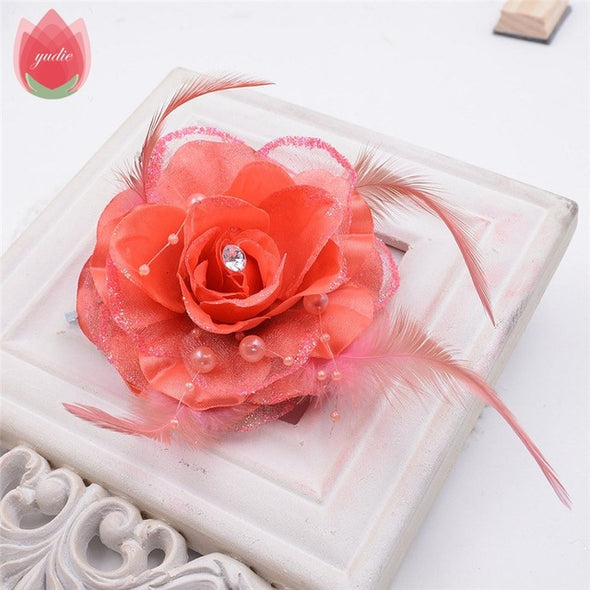 "20pcs (16Colors 9cm, 3.5"") Diamond Feather Bonzer Silk Rose Artificial Flowers - Cosplay Infinity"