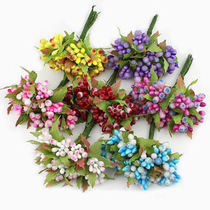 10pcs Mini Berry Stamen Artificial Flowers Crafts Accessories