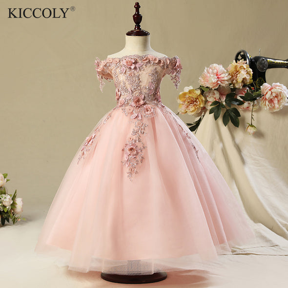Sleeveless Wedding Party Flower Girl Luxury Ball Gown Pink Organza - Cosplay Infinity