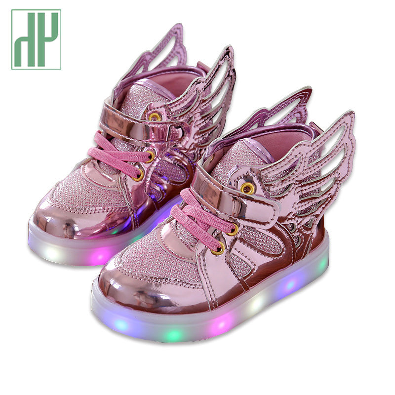 d80f8ce9f2133 Children Shoes Light Fashion Glowing Sneakers Little Girls Shoes Wings