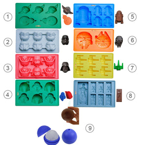 9pcs Star War Ice Cube Trays Silicone Ice Mold Death Star Candy Silicone Molds Darth Vader Yoda - Cosplay Infinity