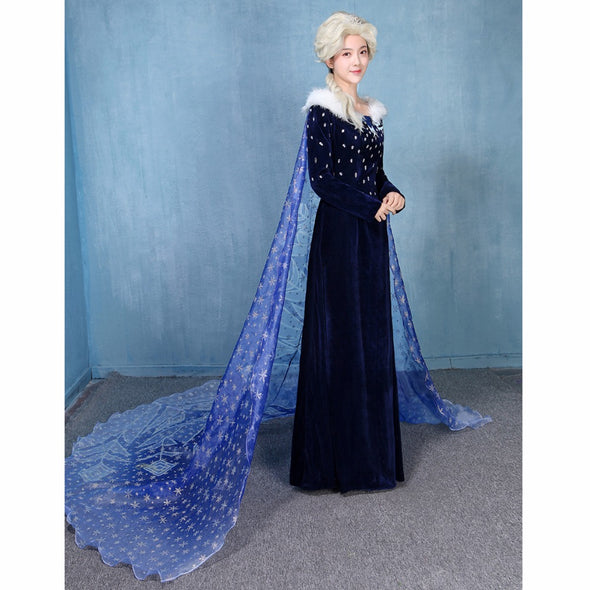 Adult Princess Elsa Snow Queen Cosplay Costume Blue Velvet Dress - Cosplay Infinity