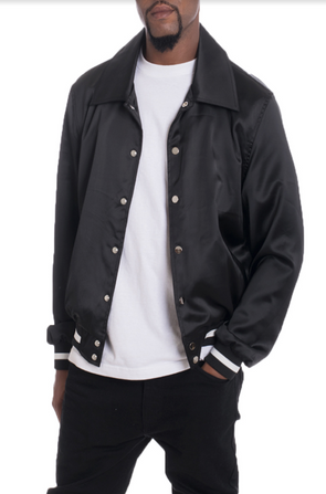 LUXE SATIN BOMBER- BLACK