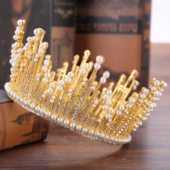 Baroque Crystal Beaded Crowns for Women Tiara Wedding Hair Accessories - Cosplay Infinity
