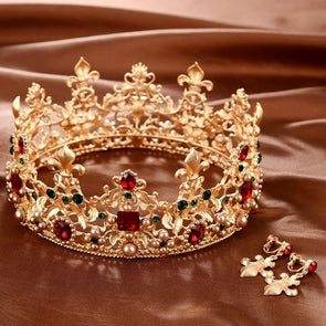 Baroque Retro Luxury Pearl Crystal Gold Crown Bridal Wedding Jewelry - Cosplay Infinity