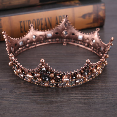 Baroque Vintage Black Rhinestone Beads Round Big Crown - Cosplay Infinity