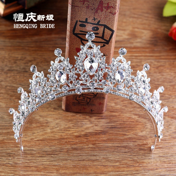 Baroque Vintage Silver Crystal Wedding Tiaras And Crowns - Cosplay Infinity