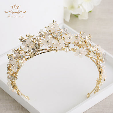 Baroque Gold Pink Butterfly Floral Brides Hairbands Cosplay Hair Accessories