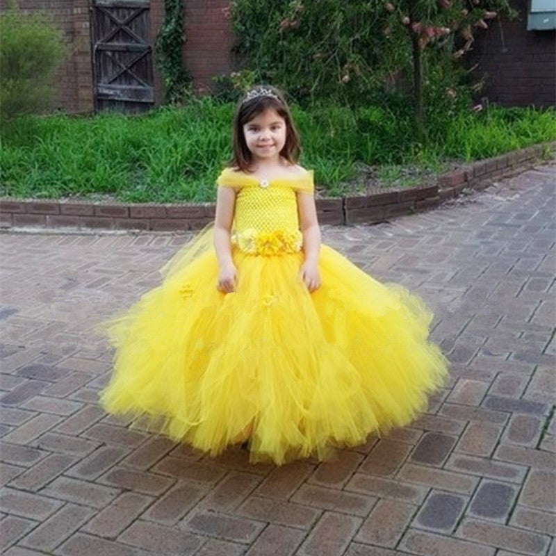 belle princess tutu dress baby kids fancy party christmas halloween