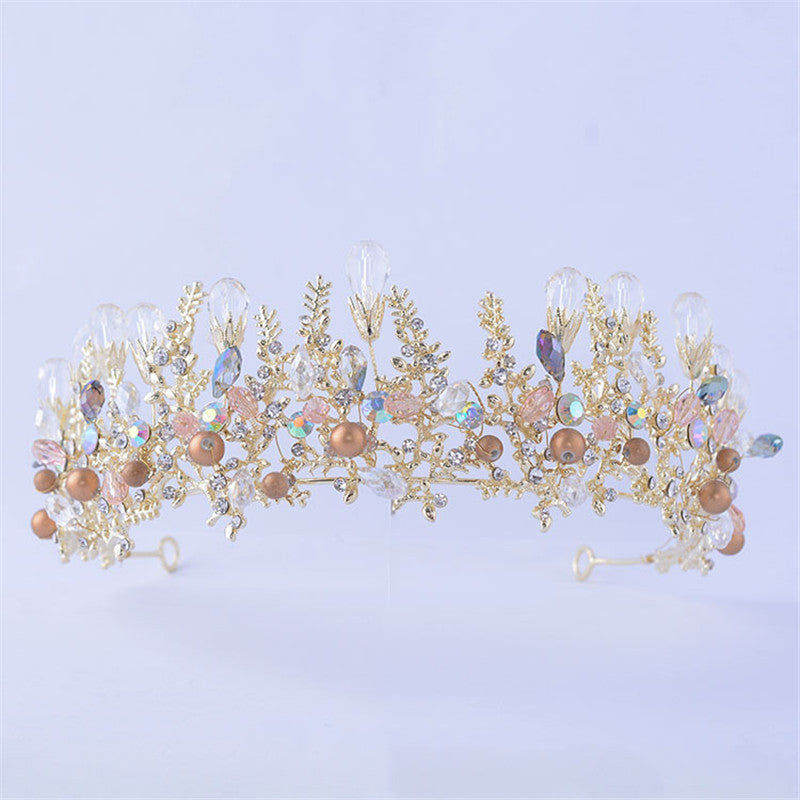 bridal wedding tiaras and crowns crystal flower gold color cosplay