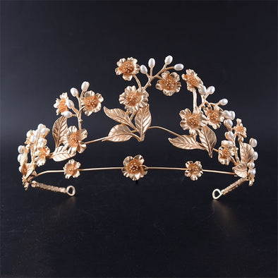 Bridal Wedding Tiaras and Crowns Preal Flower Leaf Gold Color - Cosplay Infinity