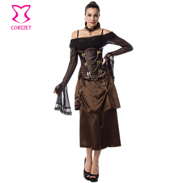 Brown Satin With Leather Buckle 2 Layers Long Steampunk Skirt Sexy Gothic - Cosplay Infinity