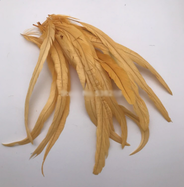 50pcs/lot 3 Sizes Gold Yellow Rooster Feathers Decoration Christmas Home New Year Wedding Cosplay - Cosplay Infinity