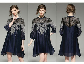 European Fashion new round collar lace embroidery hollow-out A-line loose dress women plus size designer
