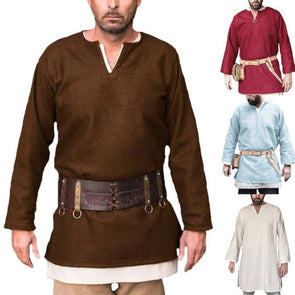 Medieval Men Shirts Viking Tops Long Sleeve Cotton Warrior Pirate Costume Men Shirt Tunic Stage Costumes Hombre Plus Size 5XL