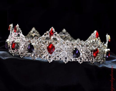 LORETO - SILVER MEDIEVAL RED PURPLE CROWN - Cosplay Infinity