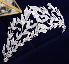 High-end Cubic Zircon Crystal Brides Tiaras Crowns Silver Leaves Wedding Accessories Royal Queen Evening Hair Jewelry - Cosplay Infinity