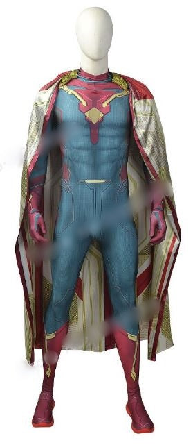 Custom Made Avengers: Age of Ultron Cosplay Costume Hero Spandex Zentai Vision Suit with Cloak Halloween