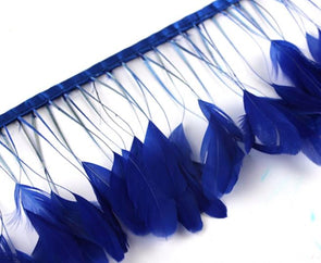 10yards/lot 8-10inch(20-25cm) Royal Blue Striped Chicken Tail Feathers Trim - Cosplay Infinity